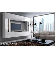 Ensemble meuble TV CONCEPT 28-28/HG/W/2-1A blanc brillant 249 cm