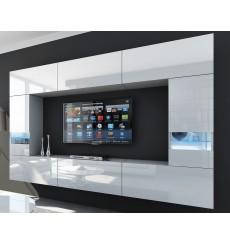 Ensemble meuble TV CONCEPT 29/HG/W/2-1B blanc brillant 273 cm
