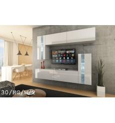 Ensemble meuble TV CONCEPT 30-30/HG/W/2-1A blanc brillant 214 cm