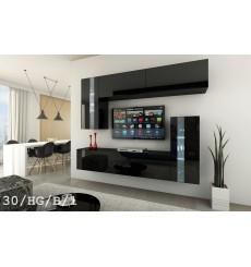 Ensemble meuble TV CONCEPT 30-30/HG/B/1-1A noir brillant 214 cm