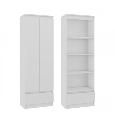 Armoire portes battante et tiroir 60x180 cm CALI blanc