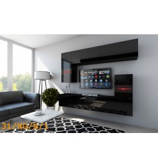 Ensemble meuble TV CONCEPT 31-31/HG/B /1-1A noir brillant 214 cm
