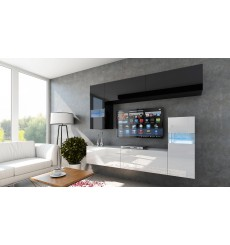 Ensemble meuble TV CONCEPT 31-31/HG/BW/8-1A noir/blanc brillant 214 cm