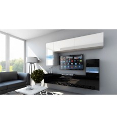 Ensemble meuble TV CONCEPT 31-31/HG/BW/9-1A blanc/noir brillant 214 cm
