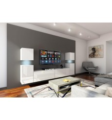 Ensemble meuble TV CONCEPT 32-32/HG/W/2-1A blanc brillant 240 cm