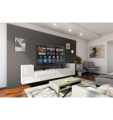 Ensemble meuble TV CONCEPT 33/HG/W/2-1A blanc brillant 240 cm
