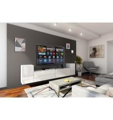 Ensemble meuble TV CONCEPT 33-33/HG/W/2-1B blanc brillant 256 cm