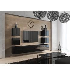 Ensemble meuble TV CONCEPT 35-35/HG/B/1-1A noir brillant 249 cm