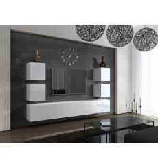 Ensemble meuble TV CONCEPT 35-35/HG/W/2-1B blanc brillant 273 cm