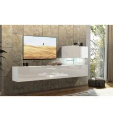 Ensemble meuble TV CONCEPT 38-38/HG/W/2-1A blanc brillant 249 cm