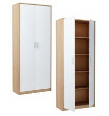Armoire à 2 portes pour bureau coloris blanc et chêne 180 x 74 cm BERGEN