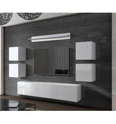 Ensemble meuble TV CONCEPT 41-41/HG/W/2-1B blanc brillant 256 cm