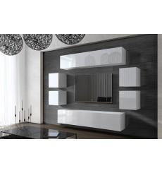 Ensemble meuble TV CONCEPT 42-42HG/W/2-1B blanc brillant 256 cm