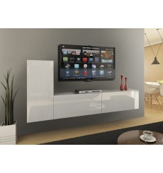 Ensemble meuble TV CONCEPT 43-43/HG/W/2-1B blanc brillant 219 cm