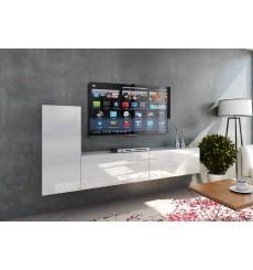 Ensemble meuble TV CONCEPT 43-43/HG/W/2-1A blanc brillant 203 cm