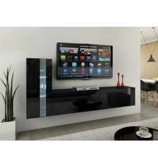 Ensemble meuble TV CONCEPT 45-45/HG/B/1-1A noir brillant 203 cm