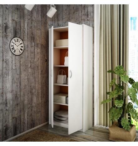 Armoire à 2 portes pour bureau coloris blanc  180 x 74 cm BERGEN