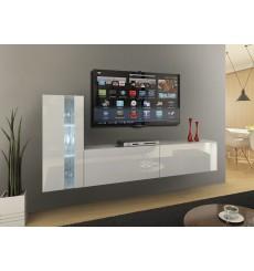 Ensemble meuble TV CONCEPT 45-45/HG/W/2-1A blanc brillant 203 cm