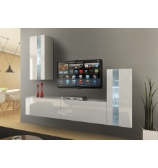 Ensemble meuble TV CONCEPT 47-47/HG/W/2-1B blanc brillant  219 cm