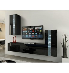 Ensemble meuble TV CONCEPT 47-47/HG/B/1-1B noir brillant  219 cm