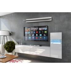Ensemble meuble TV CONCEPT 52-52/HG/W/2-1B blanc brillant 219 cm
