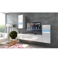 Ensemble meuble TV CONCEPT 53-53/HG/W/2-1B blanc brillant 219 cm