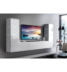 Ensemble meuble TV CONCEPT 57-57/HG/W/2-1A blanc brillant 249 x 35 x 147-182 cm