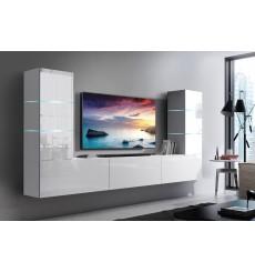 Ensemble meuble TV CONCEPT 57-57/HG/W/2-1B blanc brillant 273 x 35 x 147-182 cm