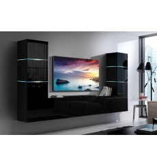 Ensemble meuble TV CONCEPT 57-57/HG/B/1-1A noir brillant 249 x 35 x 147-182 cm