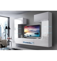 Ensemble meuble TV CONCEPT 60-60/HG/W/2-1A blanc brillant 257 x 35 x 184-200 cm