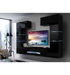 Ensemble meuble TV CONCEPT 60-60/HG/B/1-1A noir brillant 257 x 35 x 184-200 cm