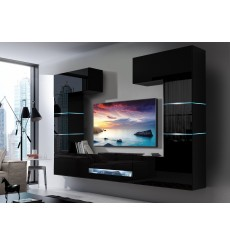 Ensemble meuble TV CONCEPT 60-60/HG /B/1-1B noir brillant 273 x 35 x 184-200 cm
