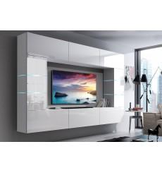 Ensemble meuble TV CONCEPT 61-61/HG/W/2-1A blanc brillant 249 x 35 x 184-200 cm