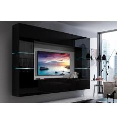 Ensemble meuble TV CONCEPT 61-61/HG/B/1-1B noir brillant 273 x 35 x 184-200 cm