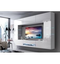 Ensemble meuble TV CONCEPT 62-62/HG/W/2 blanc brillant 257 x 35 x 184-200 cm