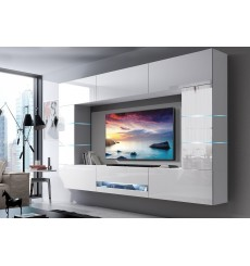Ensemble meuble TV CONCEPT 62-62/HG/W/2-1B blanc brillant 273 x 35 x 184-200 cm