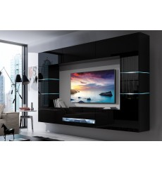 Ensemble meuble TV CONCEPT 62-62/HG/B/1-1B noir brillant 273 x 35 x 184-200 cm