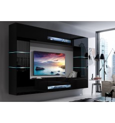 Ensemble meuble TV CONCEPT 63-63/HG/B/1-1A noir brillant 257 x 35 x 184-200 cm