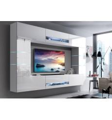 Ensemble meuble TV CONCEPT 63-63/HG/W/2-1A blanc brillant 273 x 35 x 184-200 cm