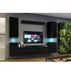 Ensemble meuble TV CONCEPT 64-64/HG/B/1-1A noir brillant 240 x 35 x 173-200 cm