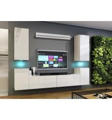 Ensemble meuble TV CONCEPT 64-64/HG/W/2-1A blanc brillant 240 x 35 x 173-200 cm