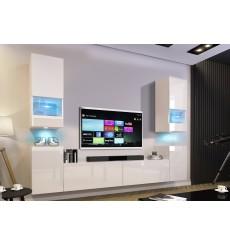Ensemble meuble TV CONCEPT 67-67/HG/W/2-1B blanc brillant 256 x 35 x 181-200 cm