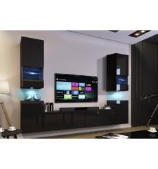 Ensemble meuble TV CONCEPT 67-67/HG/B/1-1B noir brillant 256 x 35 x 181-200 cm