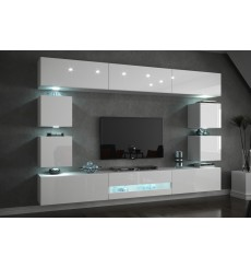Ensemble meuble TV CONCEPT C80/18W/HG2-1A blanc brillant 257 cm