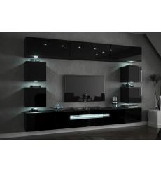 Ensemble meuble TV CONCEPT C81/18W/HG2-1A noir brillant 257 cm