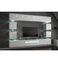 Ensemble meuble TV CONCEPT C81/18W/HG2-1B blanc brillant 273 cm