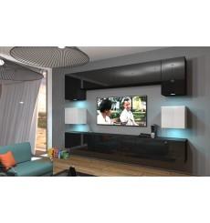 Ensemble meuble TV NEXT 1 AN1-17BW-HG22-1A noir/blanc brillant 242 cm