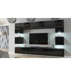 Ensemble meuble TV NEXT 1 AN1-17B-HG20-1B noir brillant 257 cm