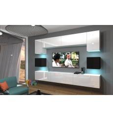 Ensemble meuble TV NEXT 1 AN1-17WB-HG23-1B blanc/noir brillant 257 cm