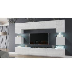 Ensemble meuble TV NEXT 1 AN1-17W-HG21-1B blanc brillant 257 cm